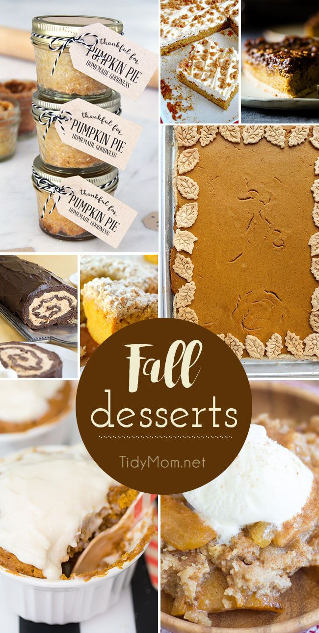 Fall Desserts that would be wonderful on any holiday table! get recipes at TidyMom.net