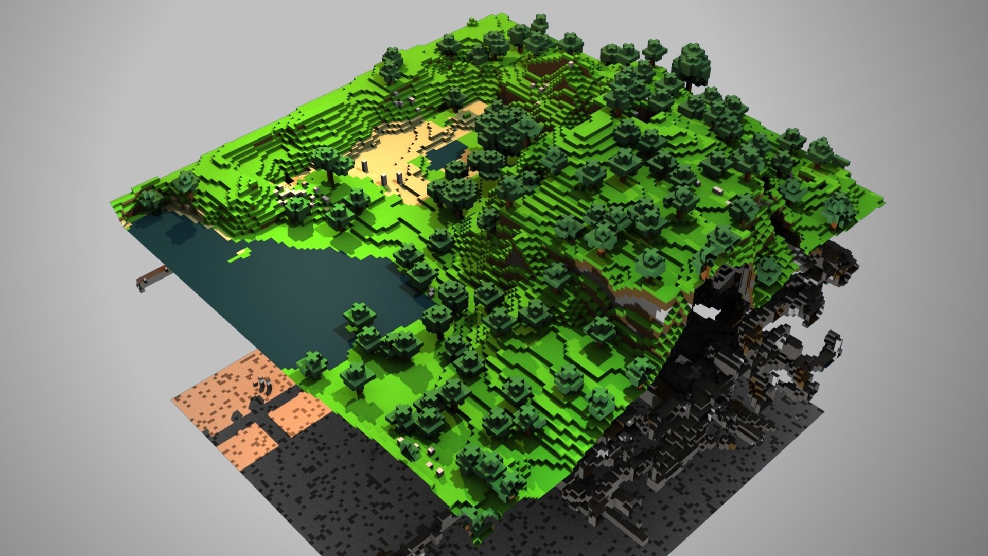 Adorable Minecraft Ground Trees Lake Wallpaper Kuff Games