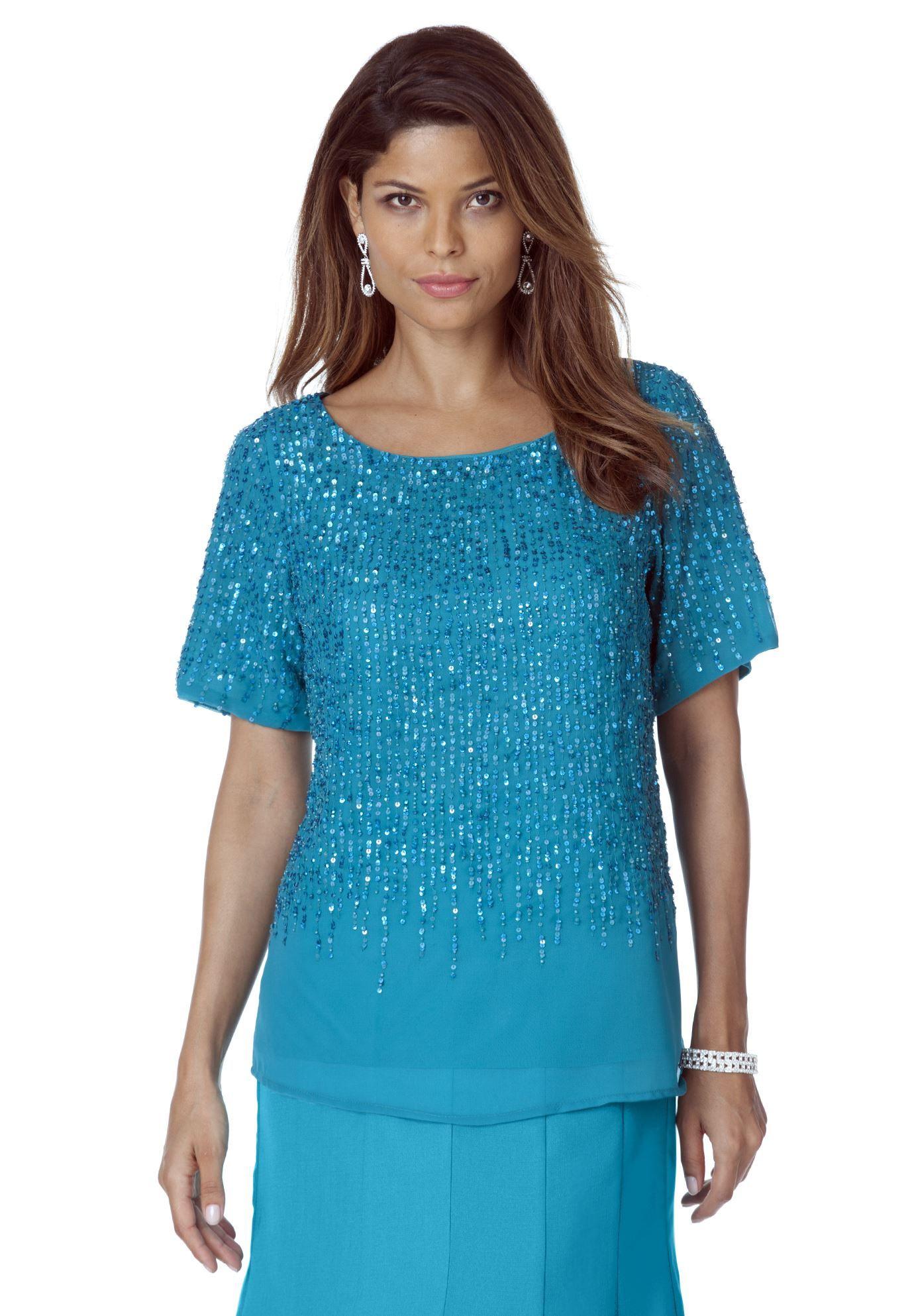 Plus Size Roaman\'s® Scattered Sequin Top | wedding dresses ...