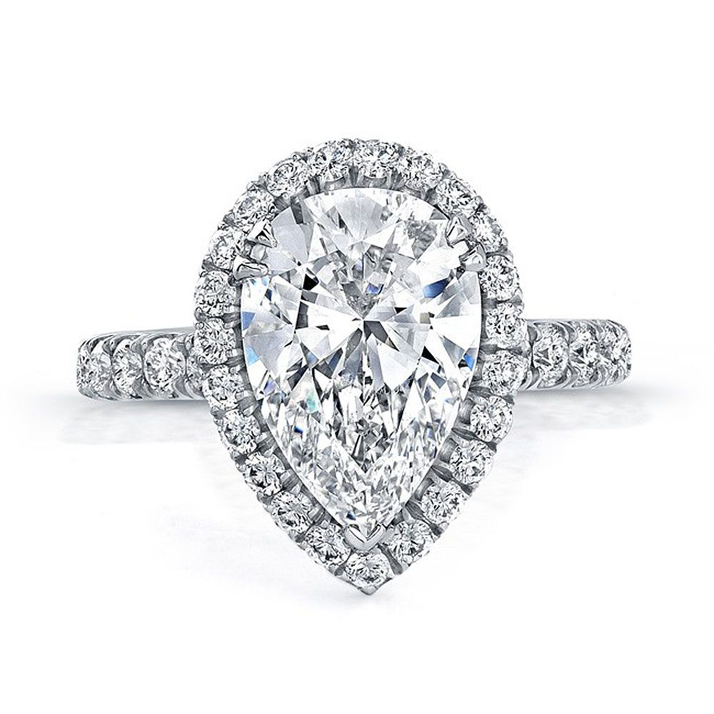 Gia certified carat flawless pear cut halo diamond engagement