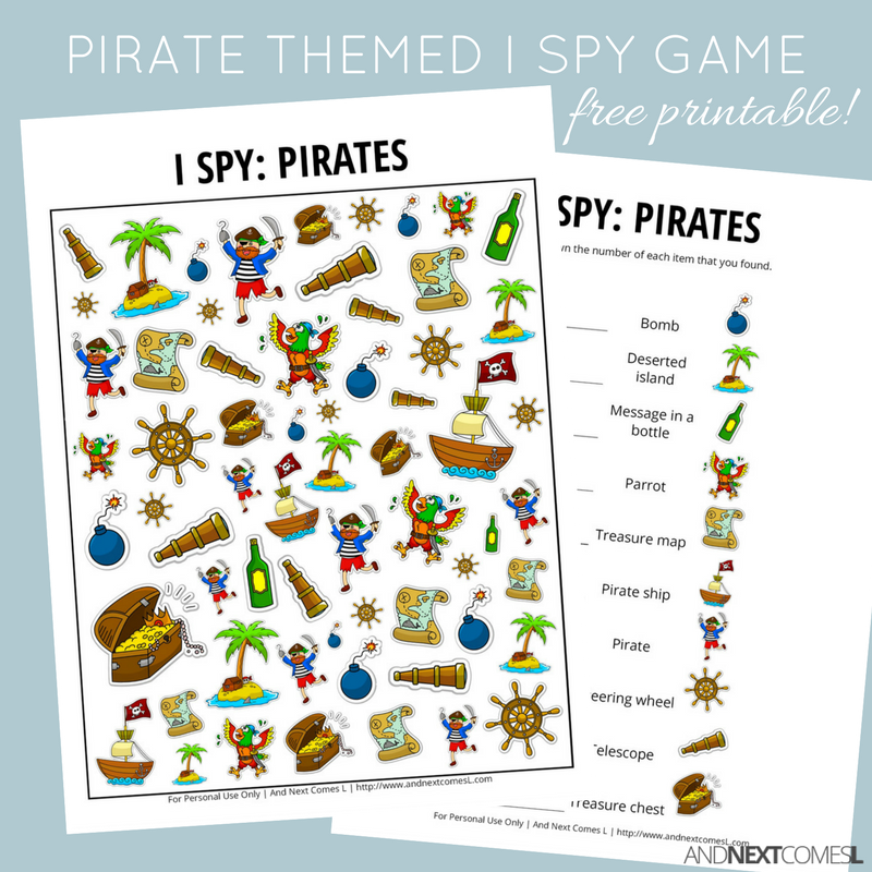 Pirates I Spy Game {Free Printable for Kids} (With images