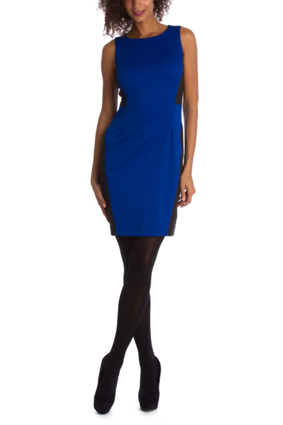 4a002b1566b Royal blue dress with black tights. Good to know.