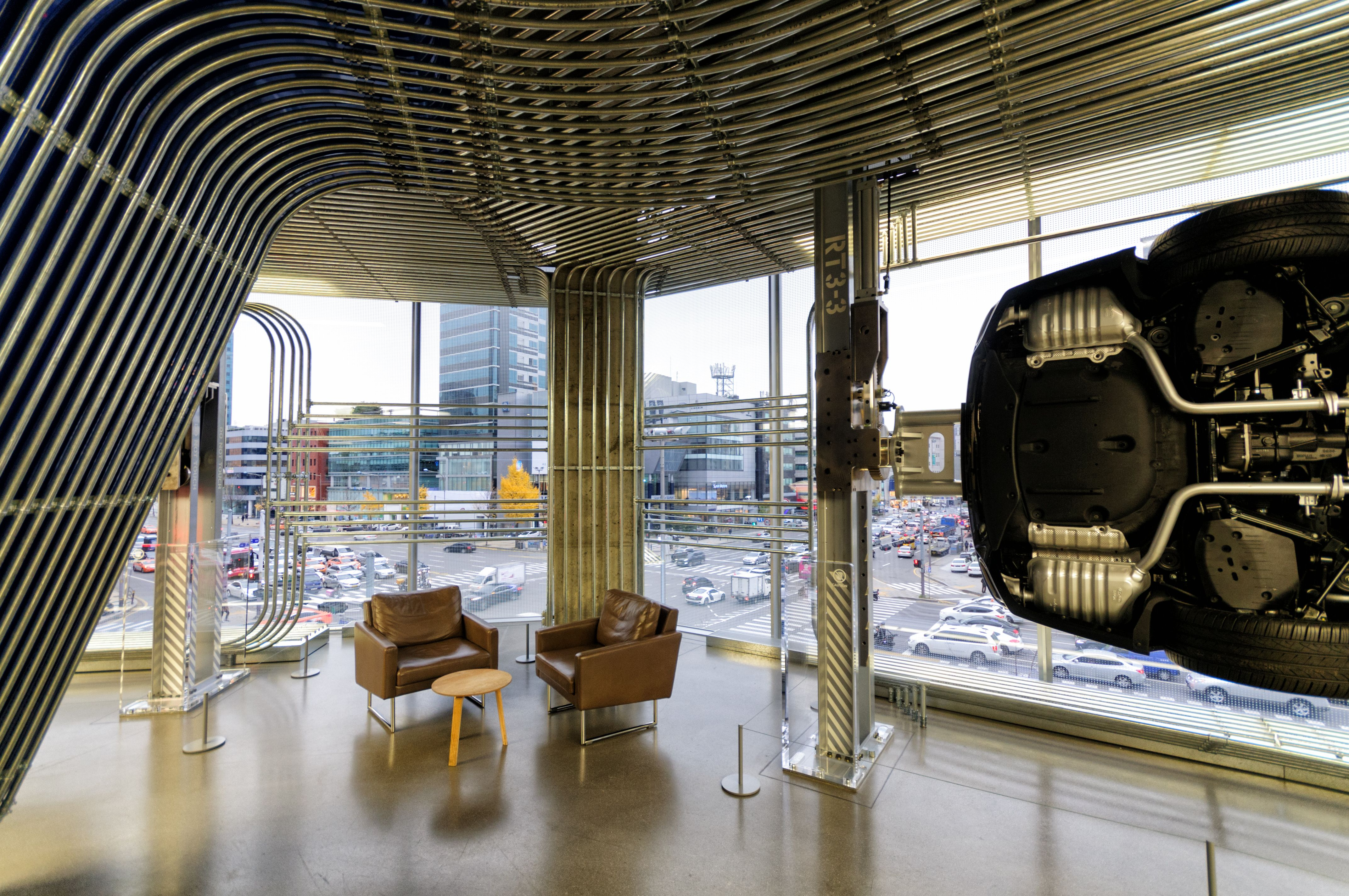 Images of rooms futuristic and industrial interior of a car showroom in cheongdam ward gangnam district seoul south korea