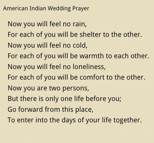 Prayer Said At Our Wedding. Native American Wedding Prayer