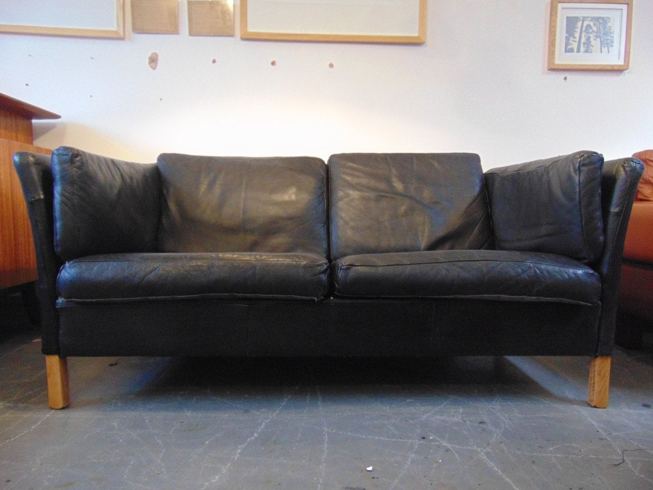 Vintage 1960u0027s Danish Black Leather Two Seater Sofa In The Style Of Borge  Mogensen 2212 Design
