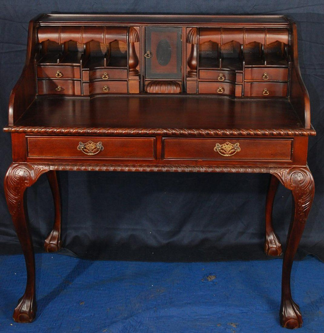 Chippendale style mahogany writing desk with hidden compartments & ball &  claw feet - Chippendale Style Mahogany Writing Desk With Hidden Compartments
