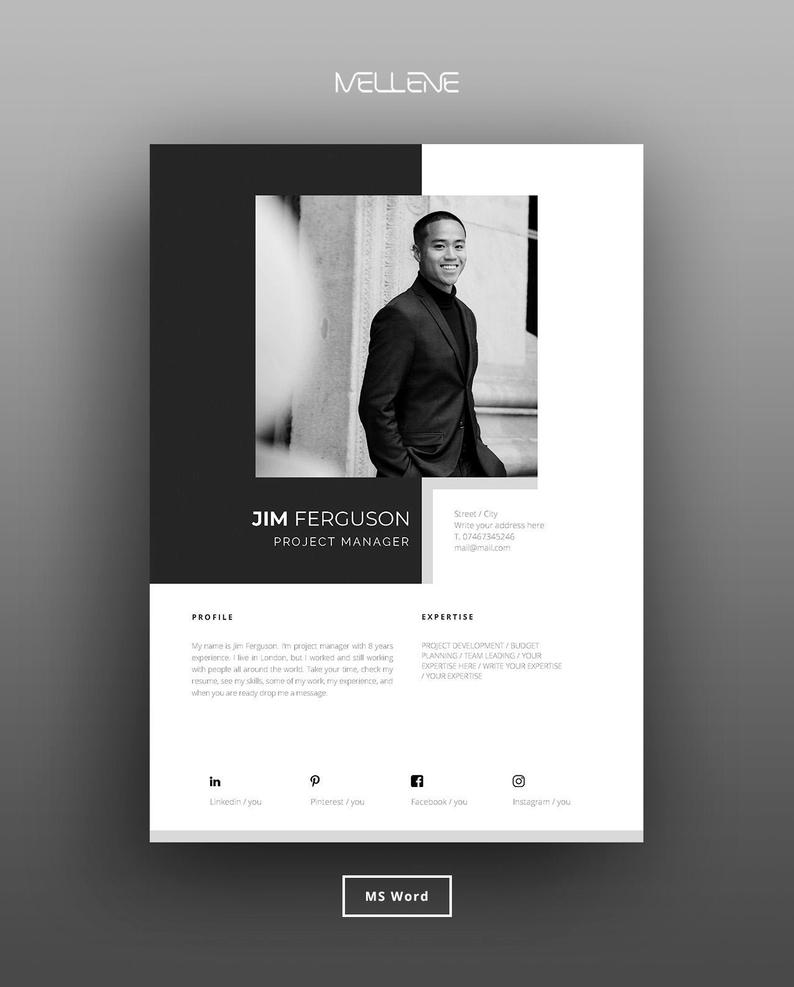 Resume Template 5 Page Cv Template Cover Letter Instant Etsy Cv Template Resume Template Cover Letter