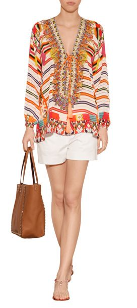 Lend a tropical twist to warm weather looks with this vibrant printed silk tunic top from Camilla #Stylebop