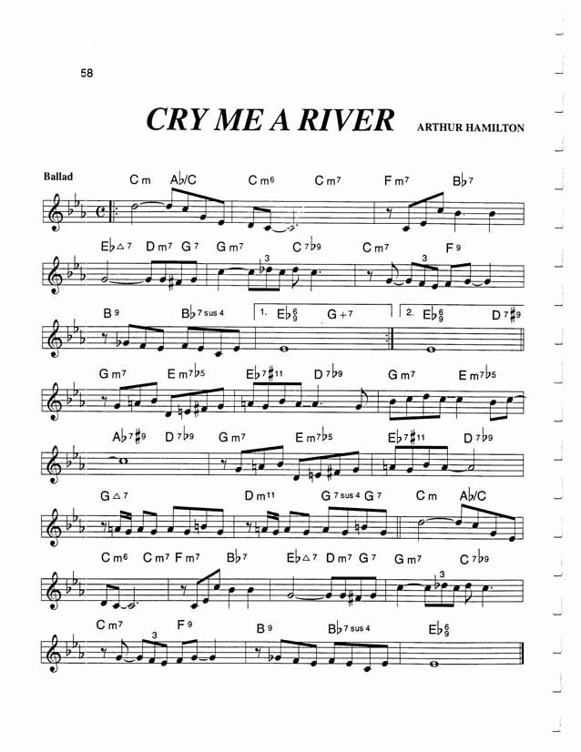 Jazz Standard Realbook chart CRY ME A RIVER | sheet music ...