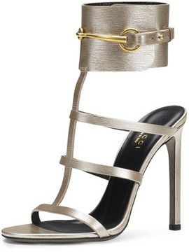 28172a121cb Gucci Ursula Metallic Ankle-Wrap Cage Sandal