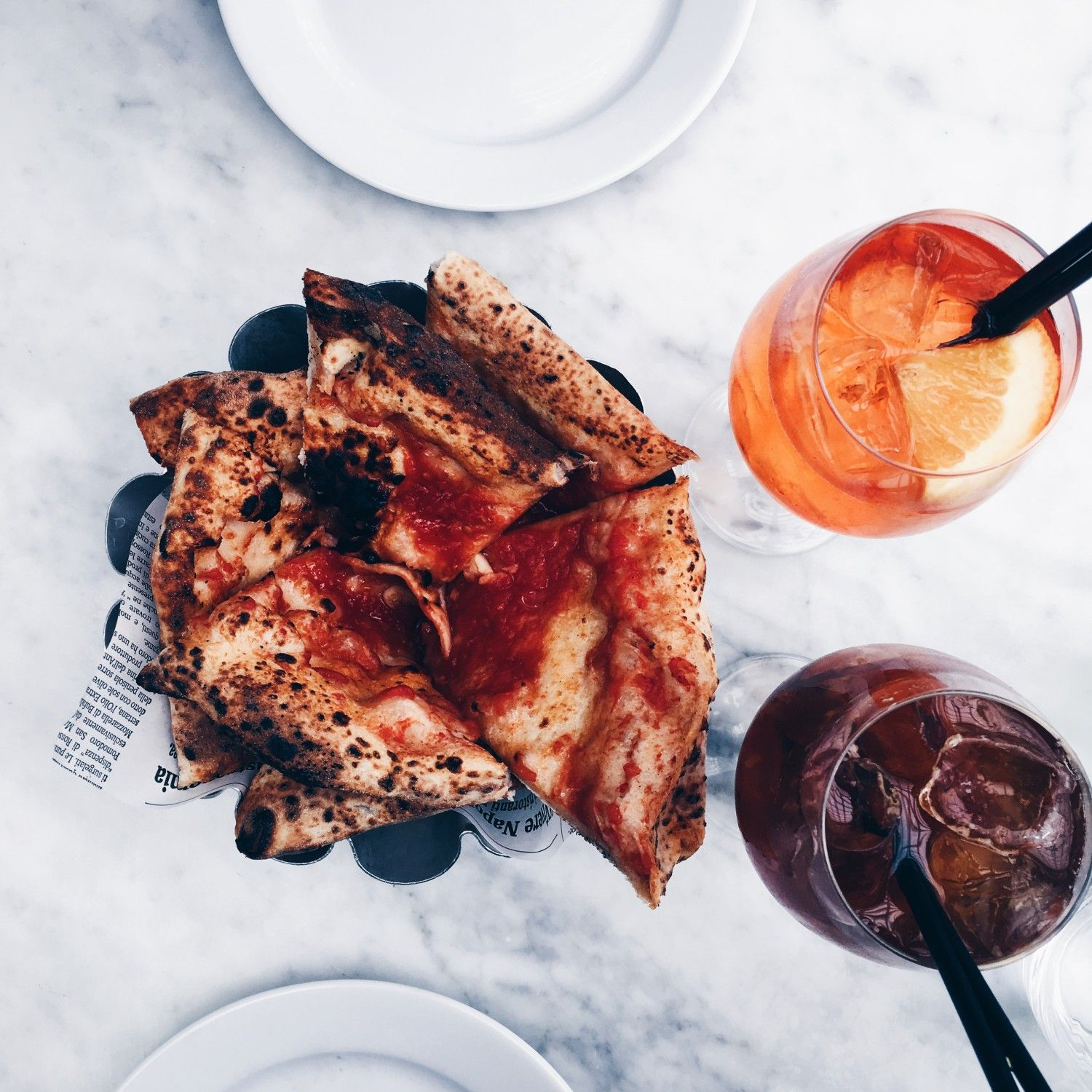 Marble table and Aperol Spritz