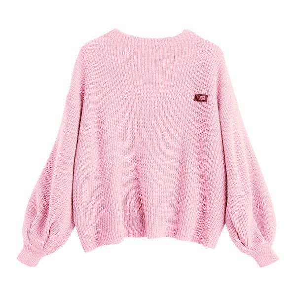 82285fef41 Oversized Chevron Patches Pullover Sweater Pink ( 23) ❤ liked on Polyvore  featuring tops