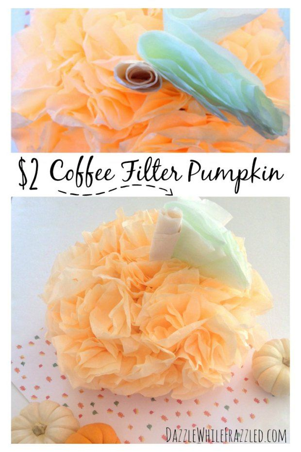 How To Make a $2 Pumpkin From Coffee Filters Coffee filters - how to make pumpkin decorations for halloween