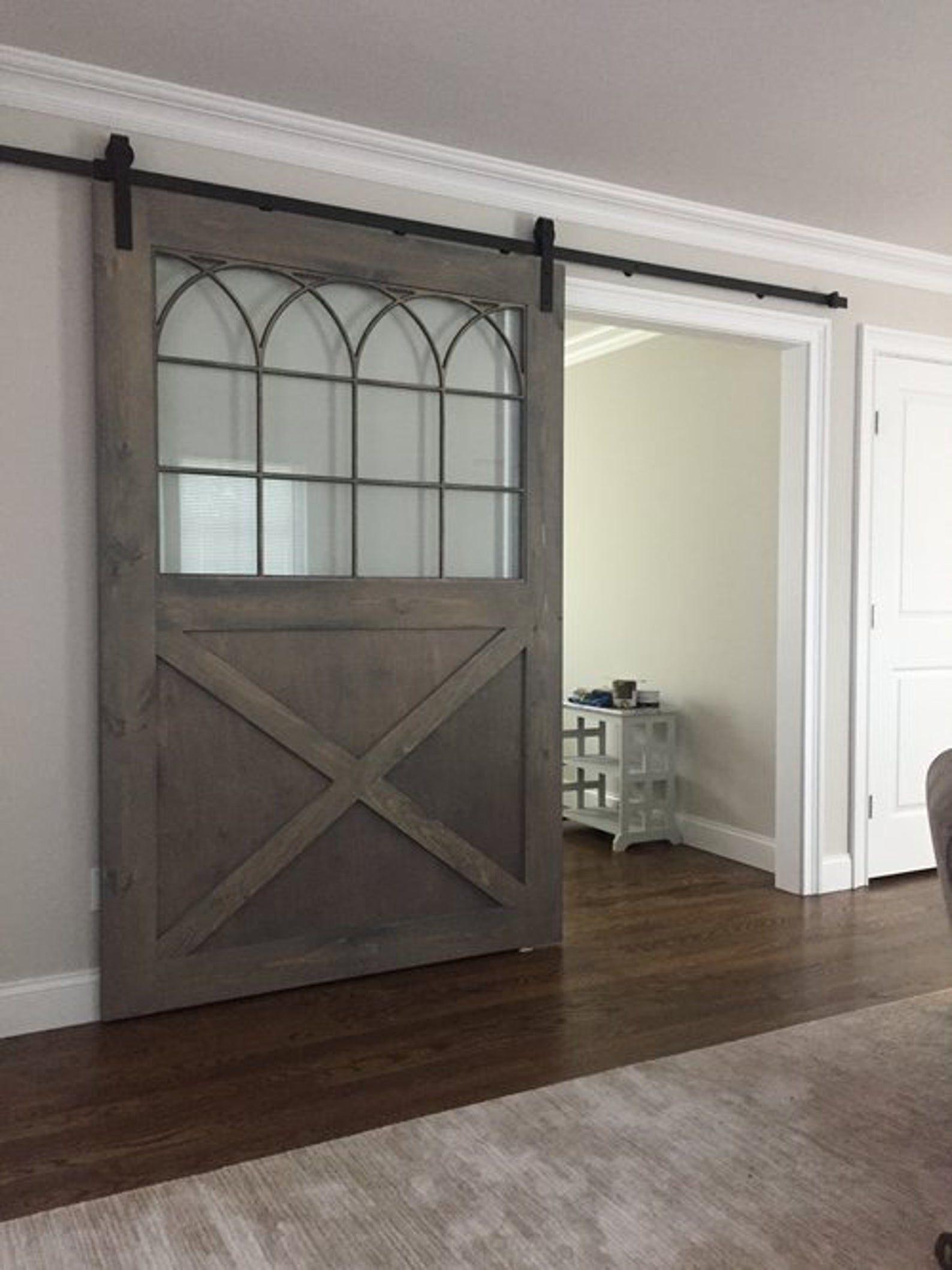 Custom Sliding Barn Door With Glass Insert And Gothic Grill Etsy In 2020 Glass Door Glass Barn Doors Barn Doors Sliding