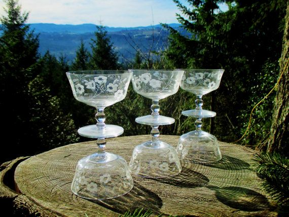 Set of 6 Low Sherbet or Champagne Glasses by HeartSmileFarms