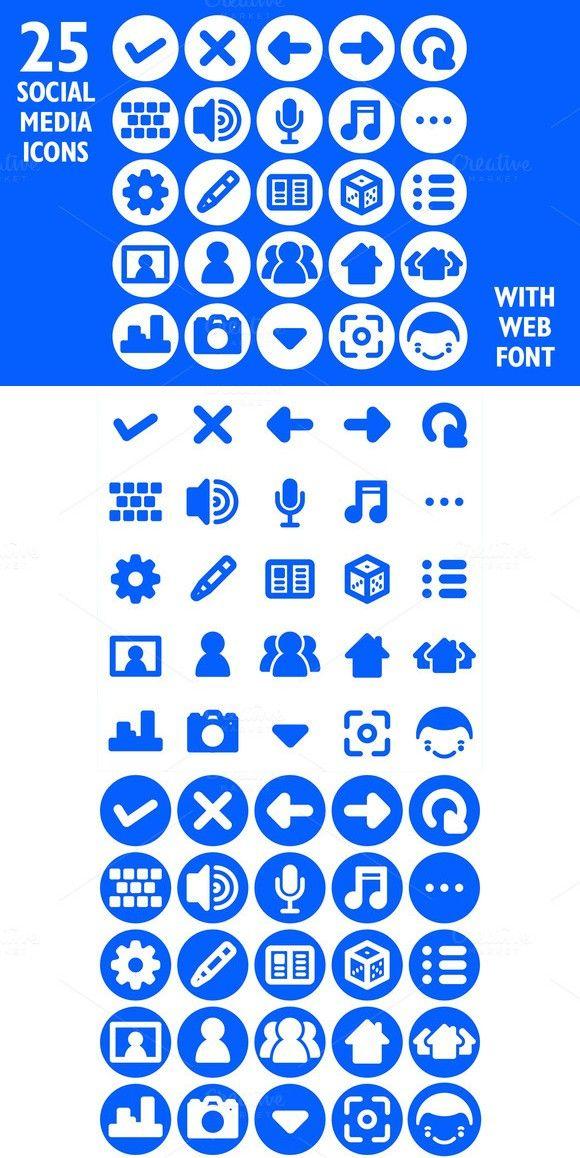 Social Media App Icon Set & Web Font. Fonts. 9.00 App