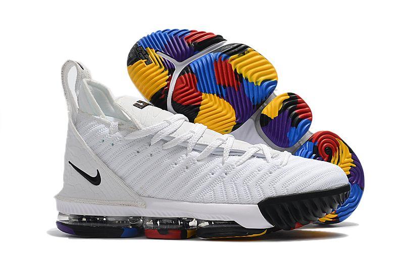 63ab6c1ab2cf Nike LeBron 16 White Multi-Color Men s Size For Sale