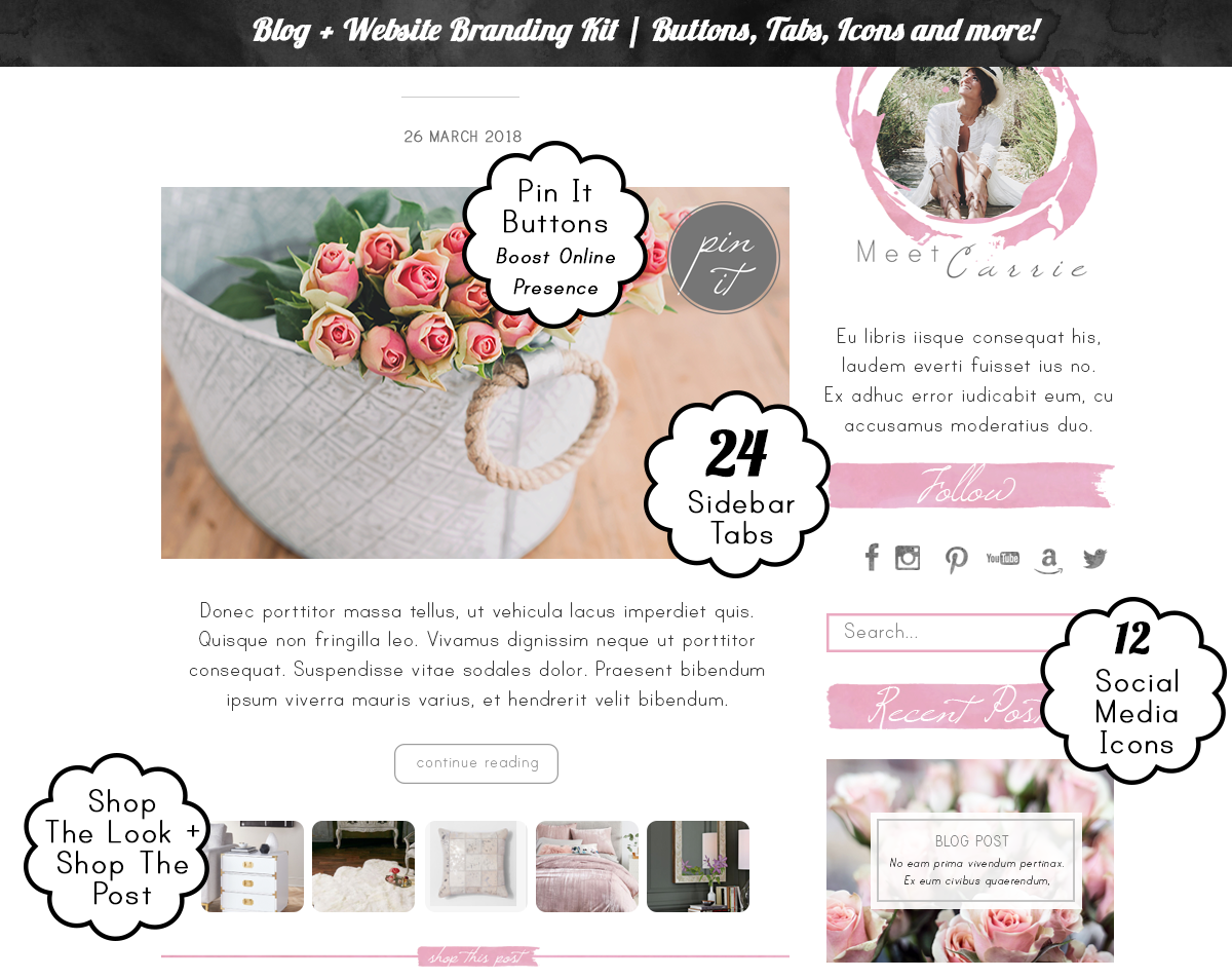 94 Piece Blog Kit, Pink Blush Rose Blogger Templates + Graphics ...