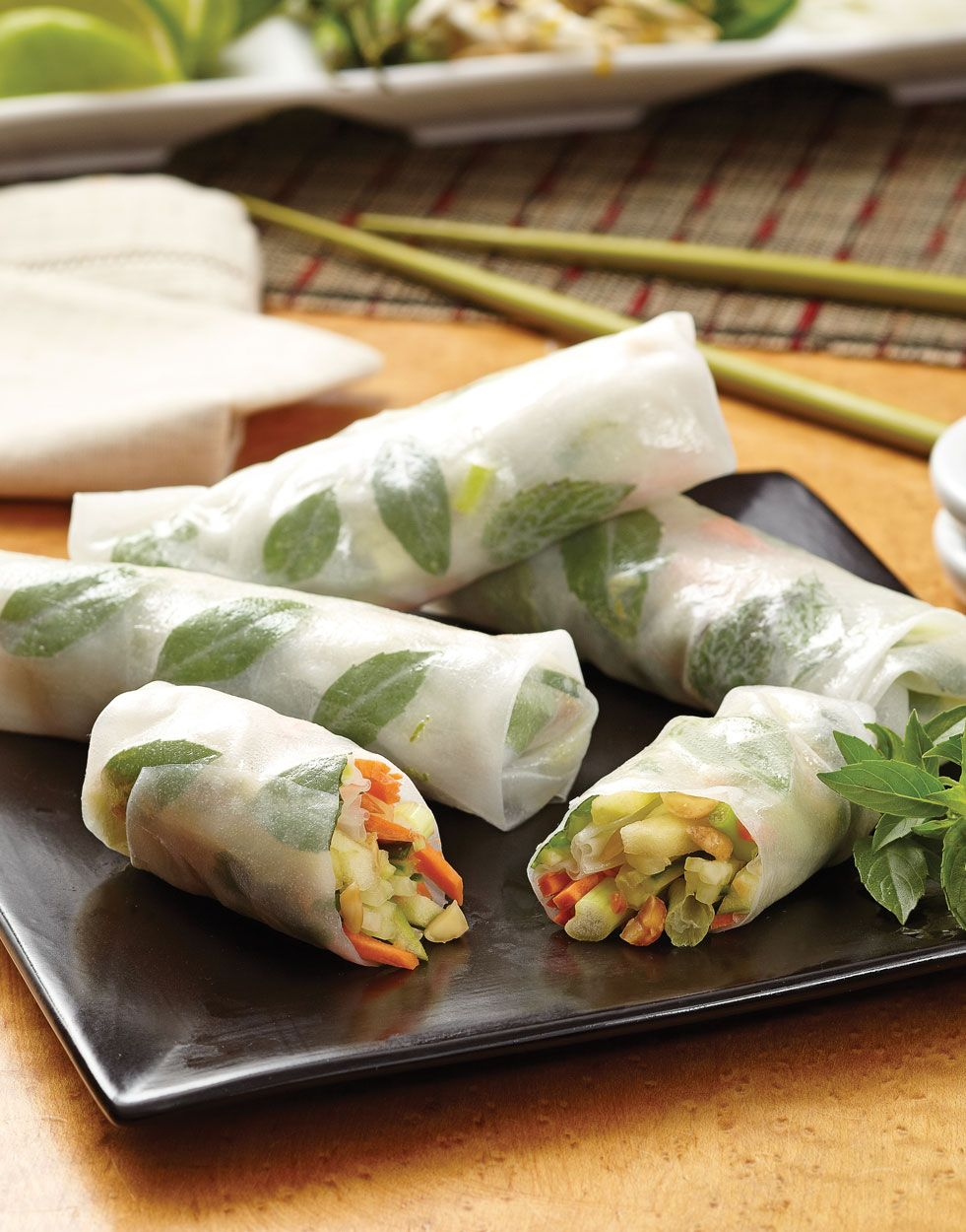 Cucumber Spring Rolls With Apple And Peanuts