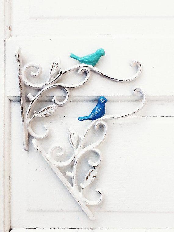 Cast Iron Bird Plant Hangers, French Garden Decor, Aqua Decor, Mint Green, Plant Hook
