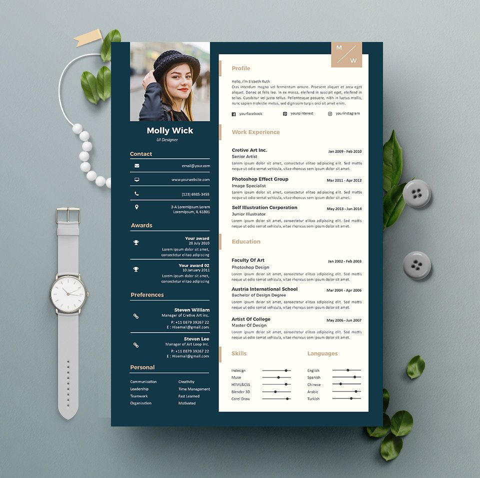 professional resume template instant download 2 pages