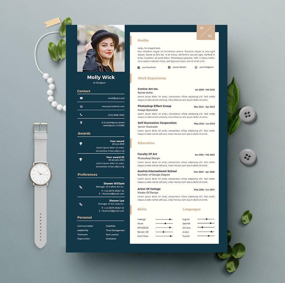 Modèle de CV professionnel téléchargement immédiat 2 Pages   Modèle de CV + lettre de motivation   DIY imprimable   Conception de curriculum vitae professionnel et créatif