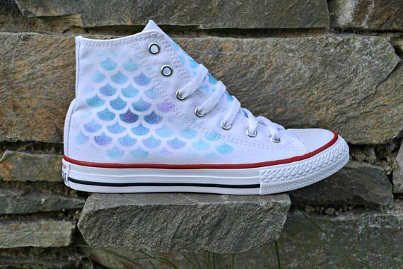 f6f0bf59a3a78 White Mermaid Shoes Mermaid Converse Mermaid Shoes Little