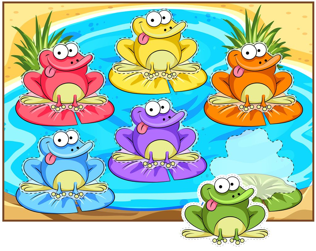Funny Frogs Color Matching Activity In