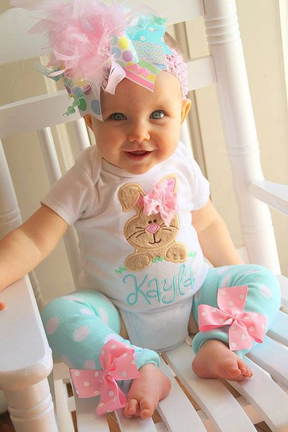 Baby Girl Easter Outfit As Seen In Vogue Hippity Hop Easter Bunny Bodysuit Leg Warmers And Over The Top Bow Pastel Aqua Pink Mint