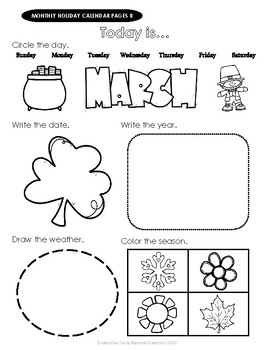 Elementary HOLIDAY MONTHLY CALENDAR Worksheet Pages II