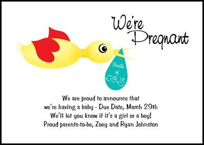 Stork Pregnancy Announcement Card number 7804IBUPA exclusively – Cute Baby Announcements Sayings