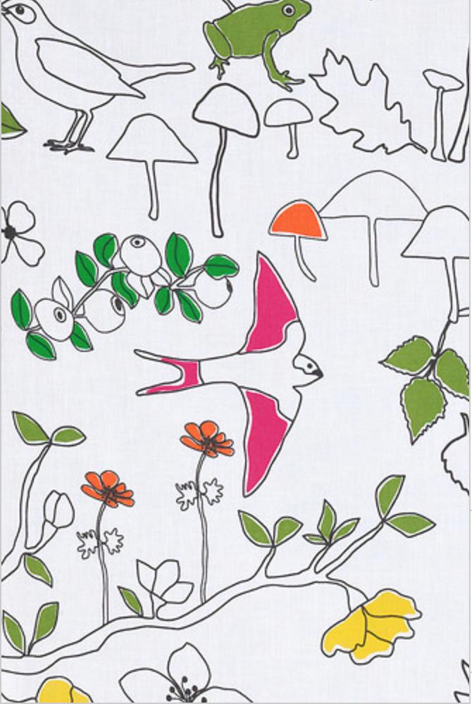 LUDOVIKA Tissu au mètre, blanc, multicolore oiseaux IKEA