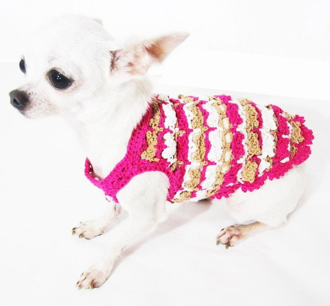 Pink Dog Clothes Rustic Chihuahua Clothing Puppy Dress by myknitt ...