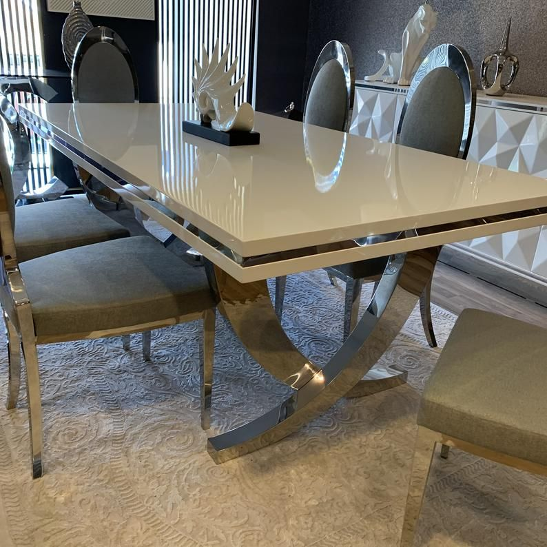 Stainless Steel Table Base, Steel Table Legs, Dining Table Legs, Table Base, Modern Table, Set of Two, Mirror Chrome