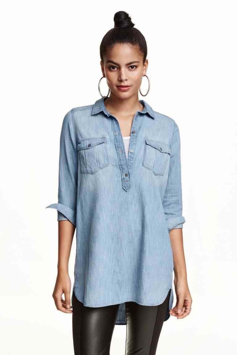 7de7c7644abc Camisa vaquera larga | H&M | blusones | Camisa vaquera, Blusa de ...