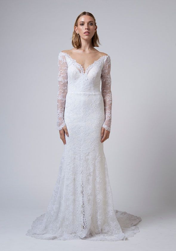 Mariana Hardwick Wedding Dresses - Incarnation bridal collection - Slinky stretch lace wedding dress with off-shoulder and full length sleeves  #weddingdress #weddinggown #weddingdresses