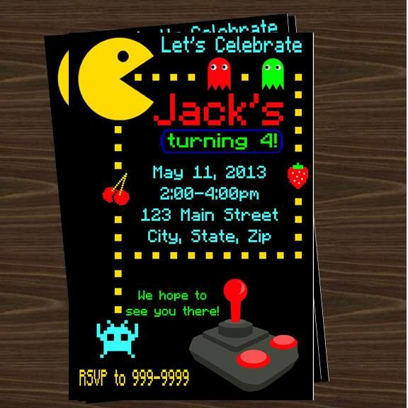Pacman Invitations Pacman Party Ideas 40th Birthday Invitations