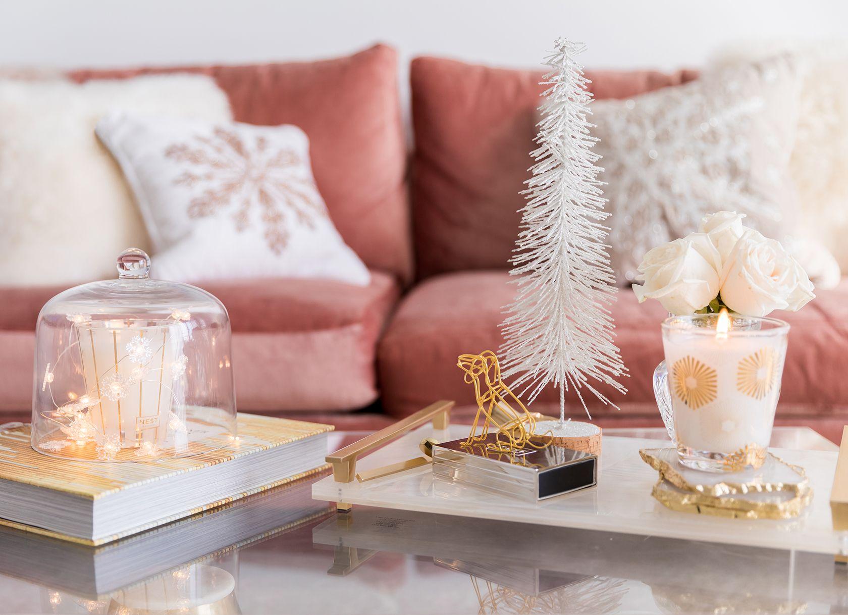 Glam Holiday Decor Blush White Metallics Sydne Style Glam Holiday Decor Holiday Decor Decor