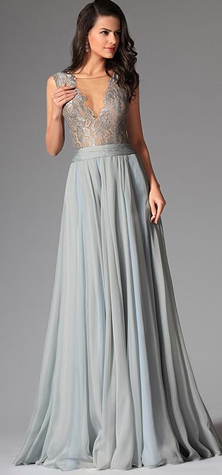 36ff1394fbf Bluish Grey Sexy Deep V-neck Embroidered Lace Formal Gown (02146732 ...