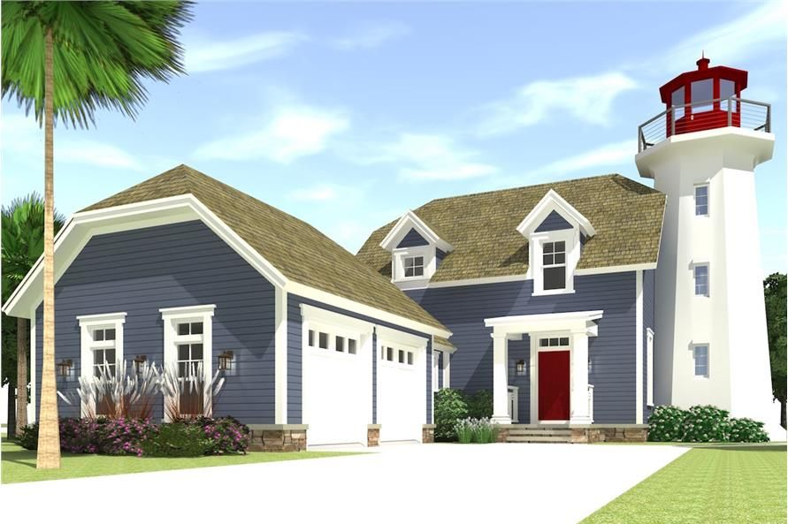 Coastal House Plan With Lighthouse 3 Bedrms 2 5 Baths 2082 Sq Ft 116 1073 Coastal House Plans Beach House Plans Cape Cod House Plans