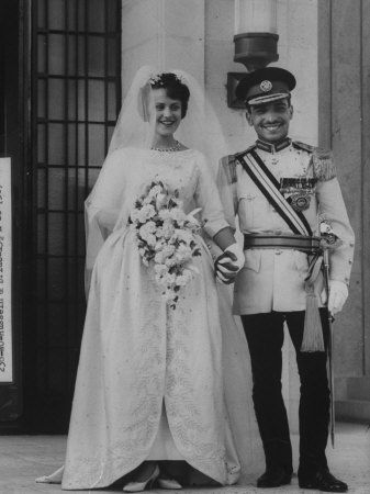 """King Hussein of Jordan & Antoinette """"Toni"""" Avril Gardiner (after conversion to Islam & marriage she was known as: Muna al-Hussein).  Married in 1961."""