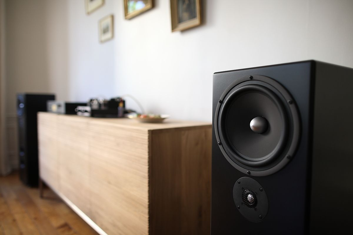 Tekton Lore S speakers.  Music with style