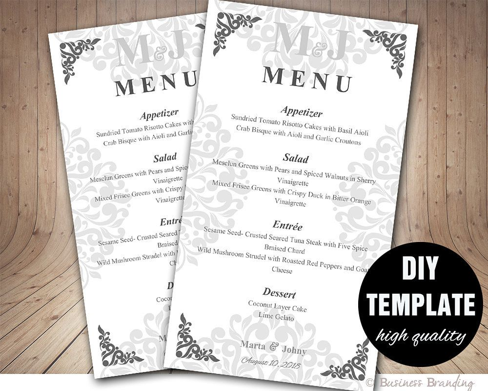 Silver Menu Template,DIY Wedding Menu Card 4X7,Silver Wedding Menu ...