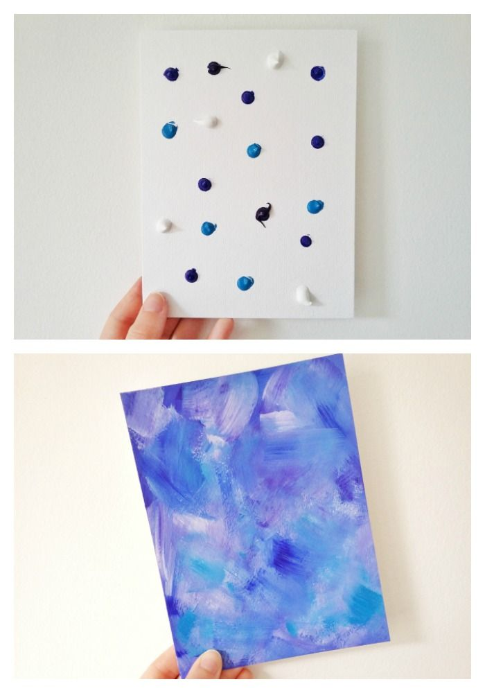Easy Abstract Acrylic Painting Diy Blue And White Easy