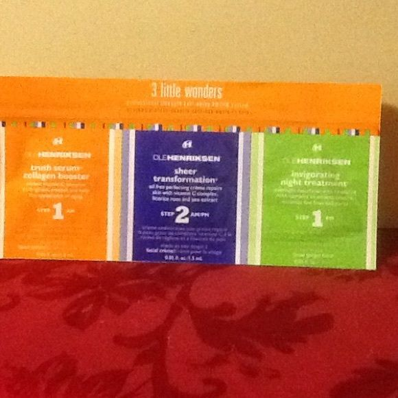 Ole Henriksen sample pack 3 little wonders sample pack. Brand new. Truth serum collagen booster, sheer transformation, invigorating night treatment Ole Henriksen Makeup