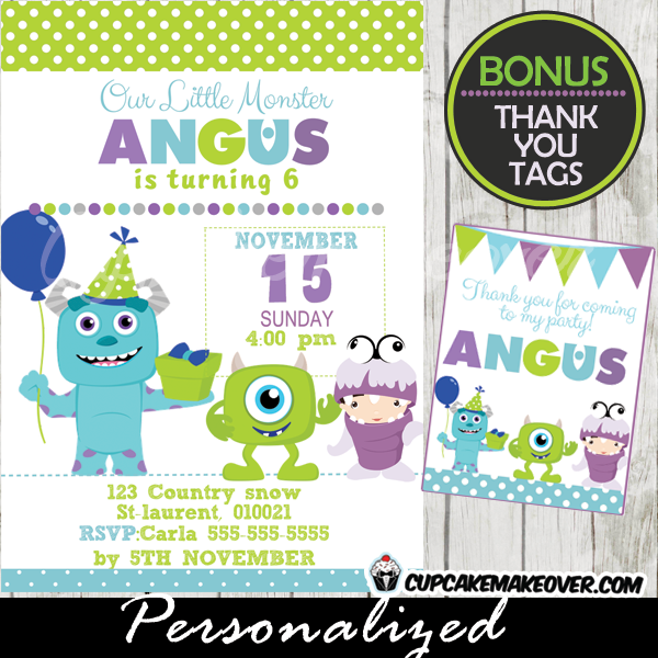 Monsters Inc Birthday Party Invitation Card Boys Personalized D2