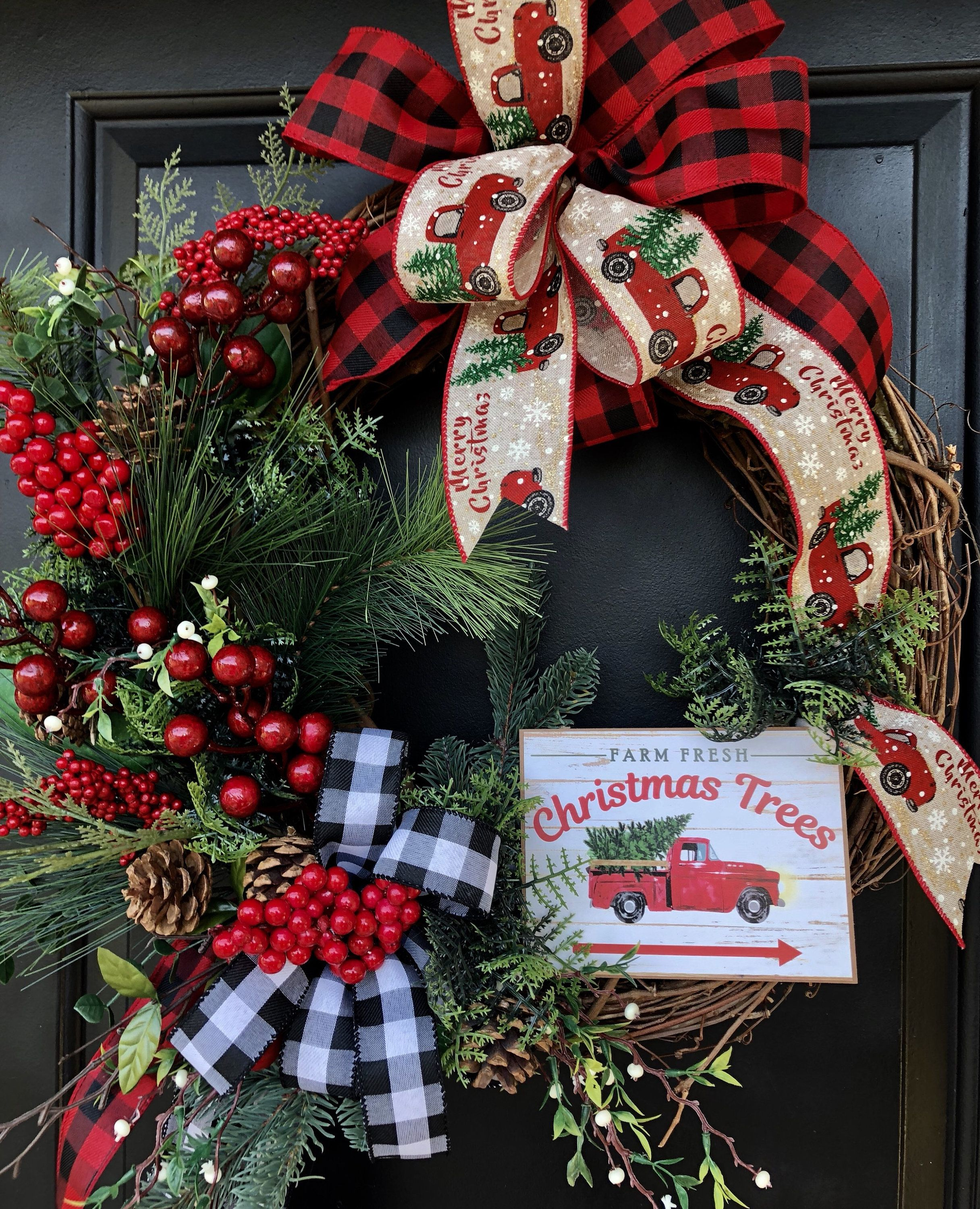 Red Truck Christmas Wreath, Grapevine Christmas Wreath