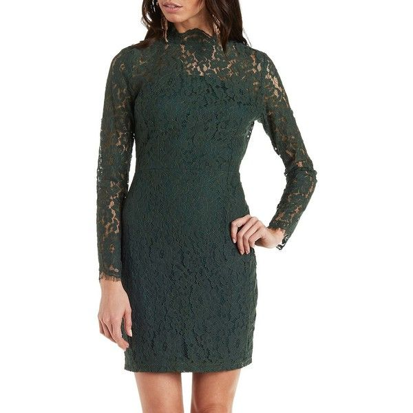 Charlotte Russe Emerald Mock Neck Long Sleeve Lace Dress by Charlotte...  ( 35 5df5523ce