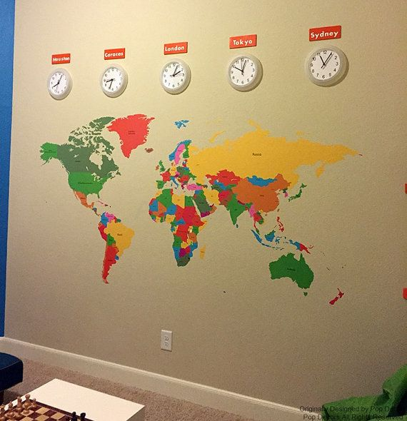 World Map Kids Wall Decals Children Wall Stickers by PopDecors ...