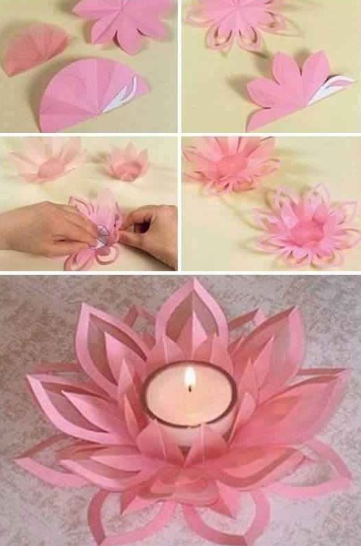 Learn How To Make A Paper Lotus Candle Holder Creative Ideas
